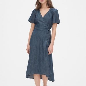NWT GAP midi wrap tie dress denim
